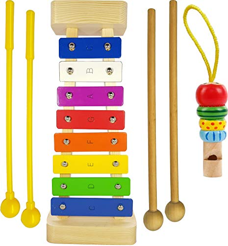 Xylophone for Kids: Glockenspiel Toy Best Birthday/Holiday Gift Idea - With(Four) Child-Safe Mallets 2 Wood 2 Plastic, 3 Music Card & Whistle ()