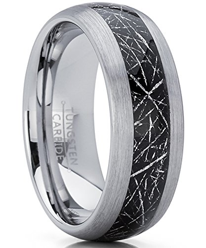 (Men's Women's Tungsten Carbide Wedding Band Ring with Imitated Meteorite Inlay, Dome Comfort Fit 8mm 8.5)