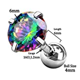 Jewseen 316L Surgical Steel Iridescent CZ 16g Helix Cartilage Barbell Stud Tragus Earrings Piercing 1pc