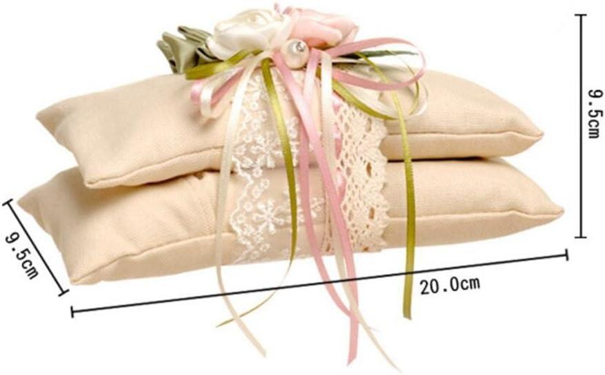 9.5cm Brown Coussin Oreiller Porteur de Bague Anneau de Mariage en Toile de Jute et Dentelle Bague en Carbone parfum/ée Oreiller Sachet Mariage 9.5