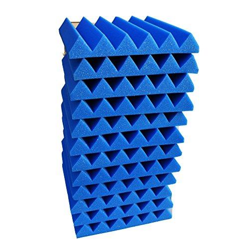 12 Pack Wedge BLUE/Black Acoustic Soundproofing Studio Foam Tiles 2''x12''x12''