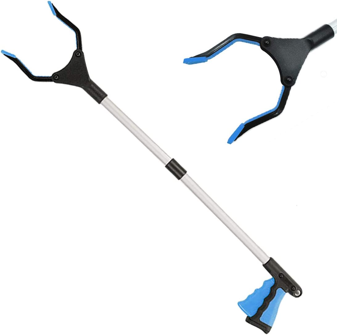 Dzxouui Foldable Grabber Reacher Tool, Home Pick Up Tool for Elderly, Lightweight Extra Long Handy Trash Claw Grabber, Mobility Aid Reaching Assist Tool, 32'' Trash Picker Grabber Tool (Blue)