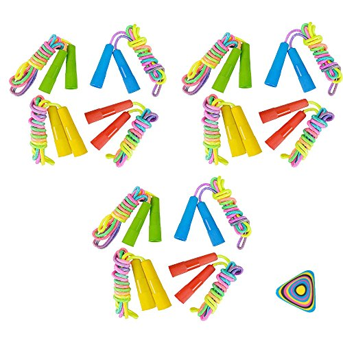 WGS 12 Rainbow Neon Jump Rope and 1 Vortex Eraser- Party Favors, Prizes, Outdoor Activities, Easter Baskets -