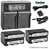 Kastar LCD Dual Smart Fast Charger & 2 x Battery for Sony NP-F770 NP-F750 and CCD-RV100 CCD-RV200 CCD-SC9 CCD-TR1 CCD-TR940 CCD-TR917 Camera CN-126 CN-160 CN-216 CN-304 YN 300 VL600 LED Video Light