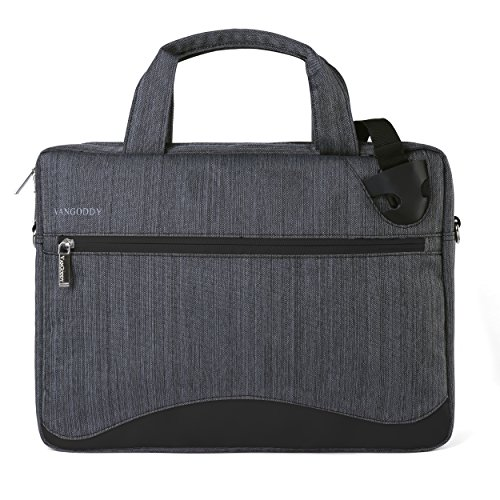 VanGoddy Wave Slim Charcoal Gray Anti Theft Laptop Bag for Fujitsu Celsius H970 17.3inch