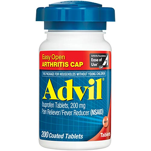Advil (200 Count) Easy Open Arthritis Cap Pain Reliever/Fever Reducer Coated Tablet, 200mg Ibuprofen, Temporary Pain - Advil Tablets