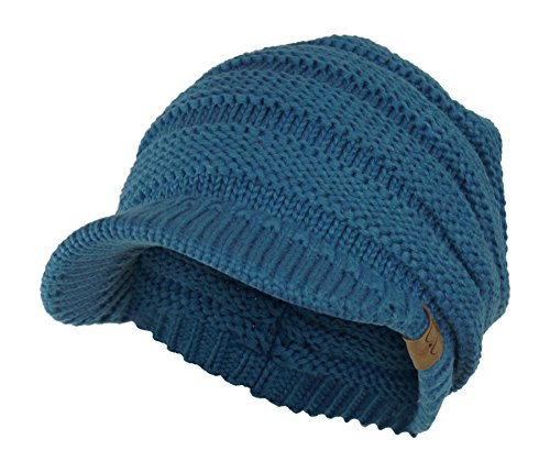 Hat Knit Teal - Teal Cable Ribbed Knit Beanie Hat w/ Visor Brim - Chunky Winter Skully Cap