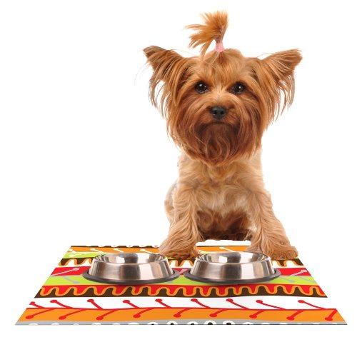 - KESS InHouse Jacqueline Milton Salsa-Orange Yellow Red Feeding Mat for Pet Bowl, 24 by 15-Inch