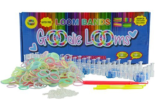 RAINBOW LOOM GLOW in the DARK Rubber Bands w/ 48 S-Clips + METAL HOOK + CHARMS