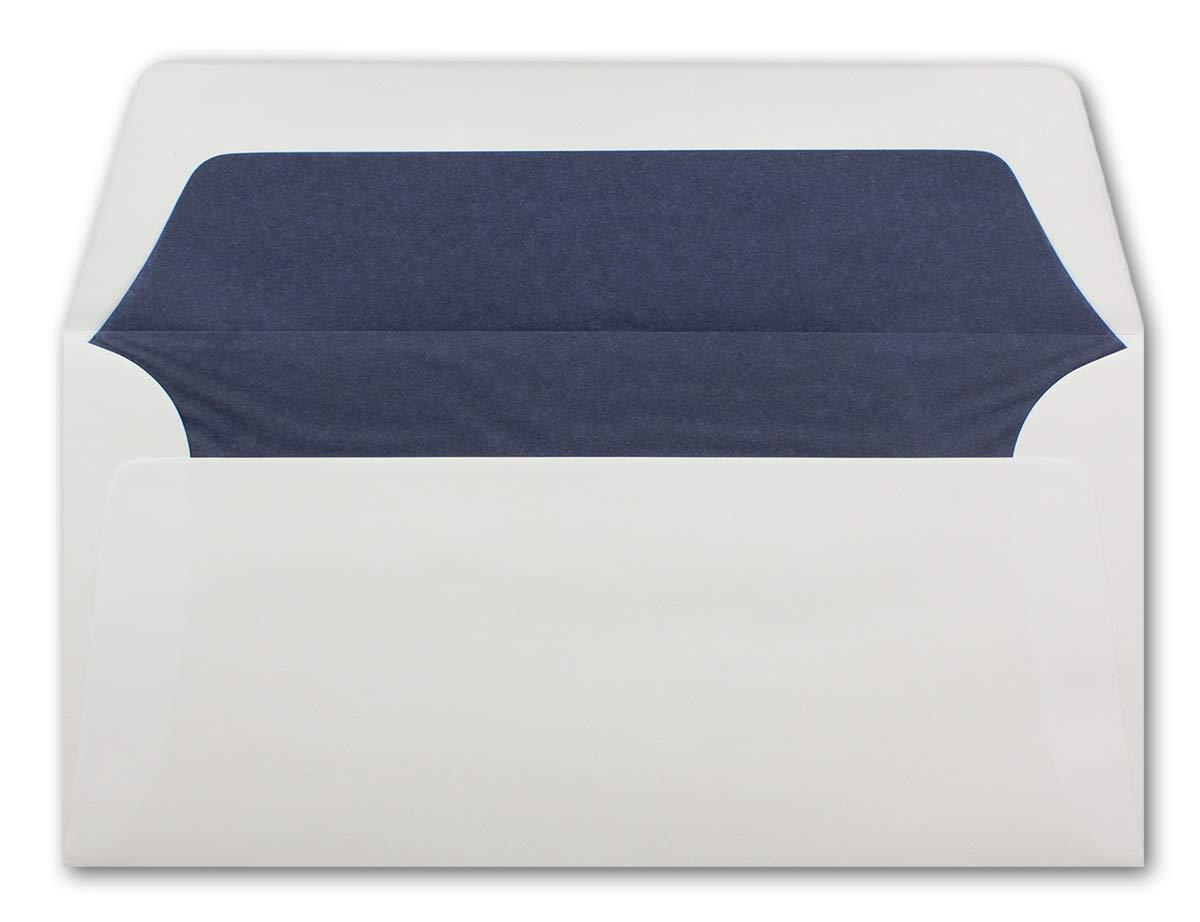 100 g//m2 Adesivo umido 50 pezzi Seidenfutter: wei/ß 22 x 11 cm DIN lungo Foderate con fodera in seta colorata Buste bianche