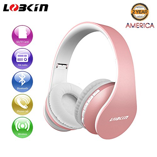 Bluetooth Headphones Over Ear, Lobkin Wireless Stereo Headset with Soft Earmuffs, Foldable & Lightweight, Perfect for Cell Phone/TV/PC and Travelling (Rose Gold)