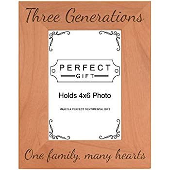three generations one family many hearts natural wood engraved 4x6 portrait picture frame wood