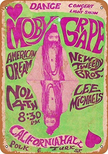 Guadalupe Ross Metal Tin Sign New 1966 Moby Grape in San Francisco Wall Plaque for Wall Decor Metal Sign 12x8 Inches