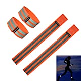 Fantaseal® High Reflective Safety Belt High Visibility Elastic Sports Wearable Bands Ankle Bands Armbands Wristband Sweatband Wrist Wrap Leg Strap Belt Reflective Fabric Tape Safety Sports Brace for Walking Jogging Running Cycling Sports & Outdoor Activity Gear- (4 Pack, 31 cm / 12 inch *2 + 37 cm / 14 inch*2 , Orange )