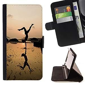 Dragon Case- Caja de la carpeta del caso en folio de cuero del tir¨®n de la cubierta protectora Shell FOR Samsung Galaxy S3 MINI I8190- Sex Girl SunShine Gymnastics