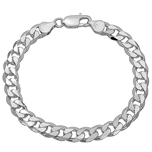 NYC Sterling Men's 9MM Solid Sterling Silver .925 Curb Link Chain Necklace, Made in Italy. (8 Inch)