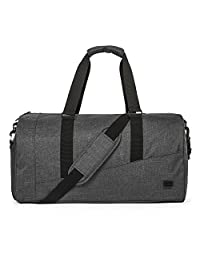 BAGSMART Large Duffle Bag Foldable Travel Bag Weekend Overnight Bag Carry-on Bag with Separate Shoe Compartment 40L, Black