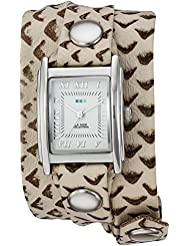 La Mer Collections Womens LMSTW7003 Stainless Steel Watch with Metallic-Patterned Wraparound Band