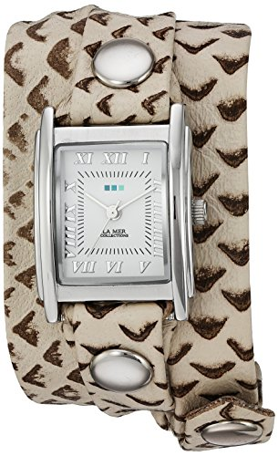La Mer Collections Women's LMSTW7003 Stainless Steel Watch with Metallic-Patterned Wraparound Band