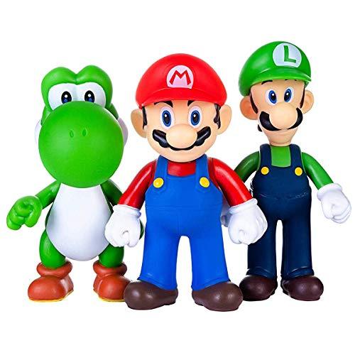 AINOLWAY 3pcs / Set Super Mario Toys - Figuras de Mario y Luigi - Figuras de accion de Yoshi y Mario Bros Figuras de Juguete de PVC de Mario