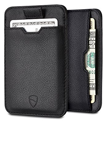 Chelsea Slim Card Sleeve Wallet with RFID Protection by Vaultskin - Top (Black Soft Italian Leather Billfold)