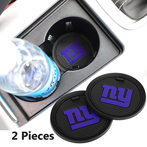 2 Pack 2.75 inch for New York Giants Car Interior Accessories Anti Slip Cup Mat for All Vehicles (New York