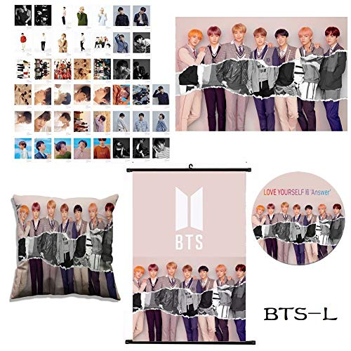 Youyouchard BTS Bangtan Boys [Love Yourself:Answer] BTS Accessories, BTS Poster+BTS Photocard Set+BTS Badge Brooch+BTS Pillow Cover, Best Gife for BTS Army (BTS Version L)