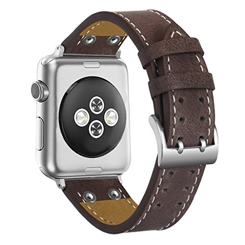 For Apple Watch 1 2 3 38mm/42mm Rivet Genuine Leather Bangle Strap Bracelet+Clasp Apple Watch 1 2 3 Soft Genuine Leather Strap Band Belt+Metal Buckle -Coffee -For iWatch (Band Rivets)