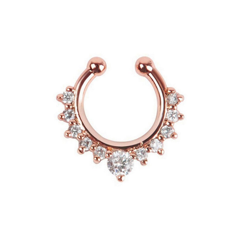 Septum Fake Nose Ring Jewelry,Women Girls Septum Ring Crystal Faux Nose Rings Non-Piercing Body Jewelry Clip On Clicker Black/Silver/Gold/Rose Gold- Gift Choice (8 PCS)