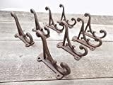 Midwest Craft House 8 BROWN RUSTIC COAT HOOKS ANTIQUE STYLE CAST IRON 4.5'' WALL DOUBLE RESTORATION KITCHEN BATH TOWEL