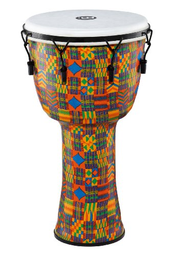 Meinl Percussion PMDJ2-L-F Large Mechanically Tuned Travel Series Djembe with Synthetic Shell and Head, Kenyan Quilt by Meinl Percussion
