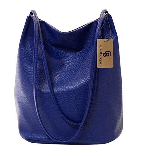 Bucket Bag Womens Leather Handbags Purse Tote Hobo Shoulder Bags,Blue