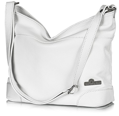LiaTalia Womens Genuine Italian Leather Medium Hobo Shoulder bag with Protective Dust Bag - Jane (White) (White Italian)