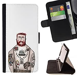 Momo Phone Case / Flip Funda de Cuero Case Cover - Tatuaje capitán de tinta blanca rústica Hombre - Sony Xperia Style T3