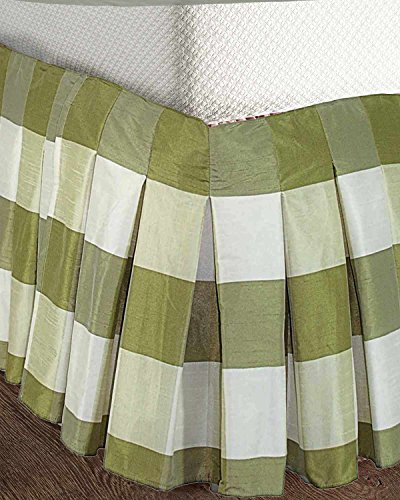 "Ds Green Ivory Buffalo Toned Faux Silk Inverted Pleats Bed Skirt / Dust Ruffles 18"" Drop (King)"
