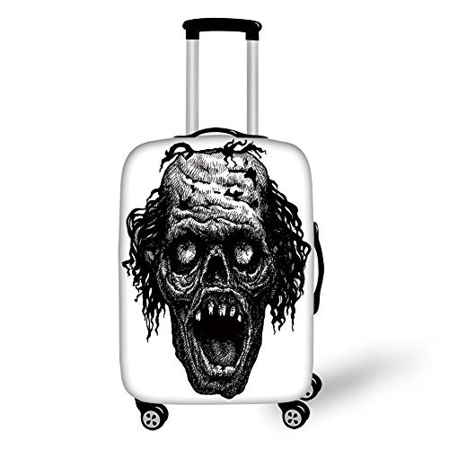 Travel Luggage Cover Suitcase Protector,Halloween,Zombie Head Evil Dead Man Portrait Fiction Creature Scary Monster Graphic,Black Dark Grey,for -