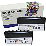 Hi Ink 2 Pack Compatible Print Ink-jet Toner Cartridges to Replace Epson Picturemate T557 T5570 T557l for Epson Picture-mate Pm500 Pm-500 Inkjet Photo Printer. by HIINK