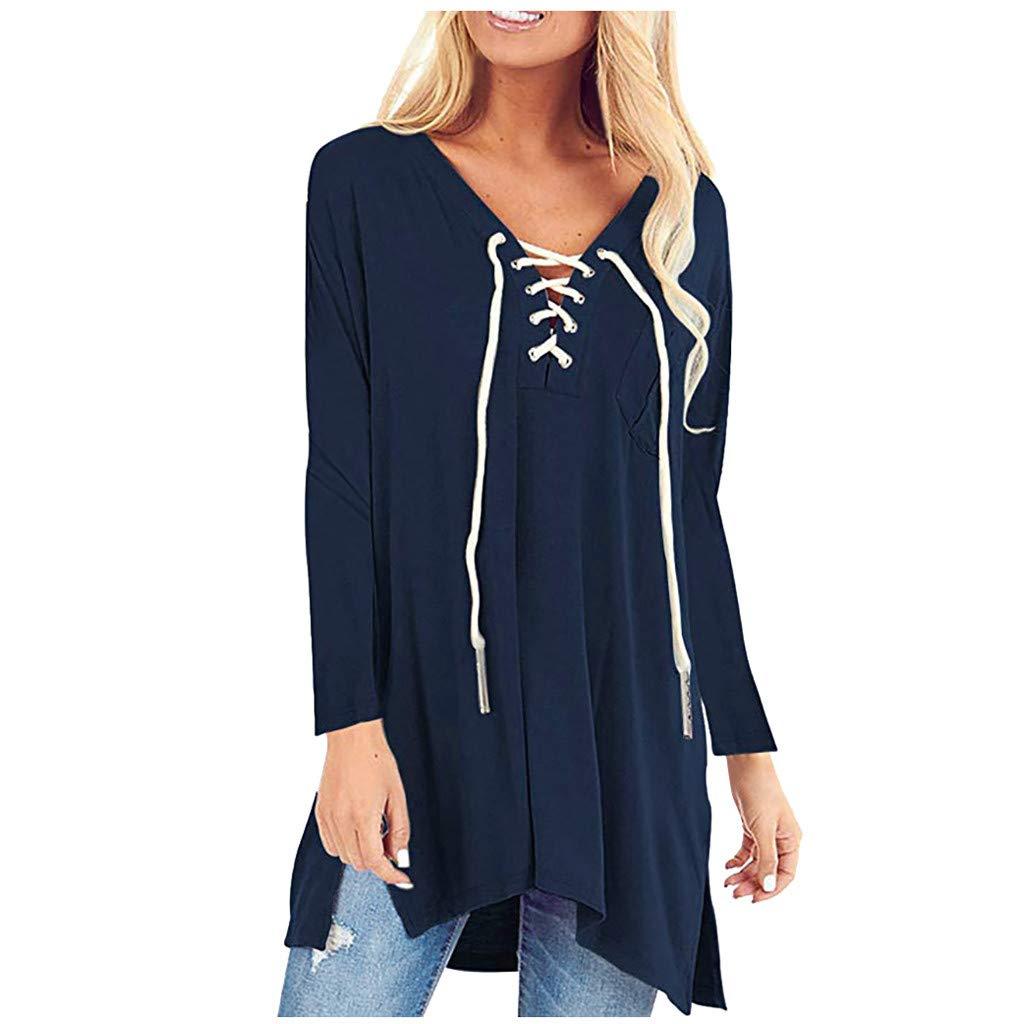 SHUSUEN Womens Tops Floral V Neck Tunic Long Sleeve Blouses Lace Up Flowy Side Split Casual Shirts Blue by SHUSUEN