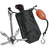 Extreme Max 3006.6702 Silver BoatTector Complete PWC Stainless Steel Grapnel Anchor Kit (with Rope/Marker Buoy/Storage Bag - 3.5 lb.)