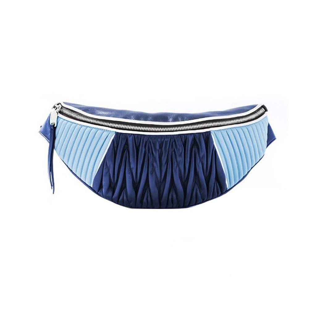 HAOLIEQUAN Taille Taschen Damen Gürtel Taschen Handliche Leder Gürteltasche Damenmode Plissee Spleißen Brusttasche