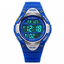 Kids Watch Children Outdoor Sports Digital LED Alarm Waterproof Wristwatch Boys Stopwatch Blue