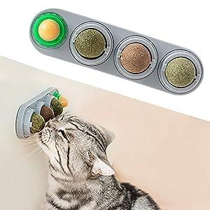 Potaroma 4 Pack Catnip Balls, Silvervine Matatabi Balls, Edible Kitty Toys for Cats Lick, Safe Healthy Kitten Chew Toys…