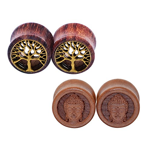 D&M Jewelry 4pcs Wood Tree 00g-3/4