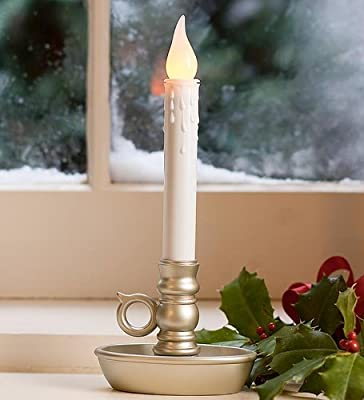 Plow & Hearth Battery Operated Window LED Candle Lamps, Auto Timer, Long Lasting Yellow Flame Bulbs Never Need Replacing, Plastic Construction, Home Accents Holiday Lights 9.5 H