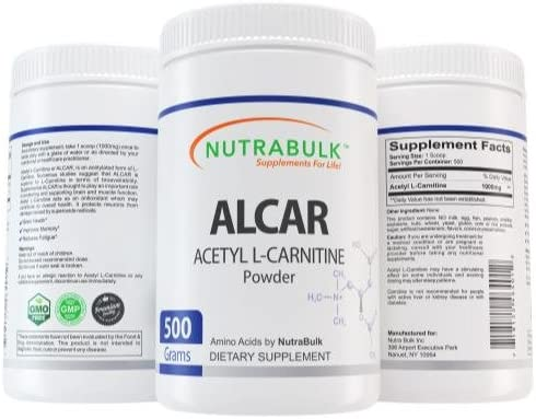 Acetyl L-Carnitine Best Workout Recovery Powder – Pure ALCAR – Pre Intra Post Workout Supplement – NutraBulk 100 Pharmaceutical Grade – 500Grams