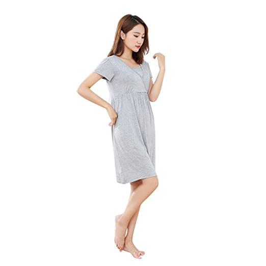 57898236cfd2 Amazon.com: Womens Labor/delivery/Nursing Hospital Gown Maternity Solid  Short Sleeve Sleep Dress Dark Gray: Clothing