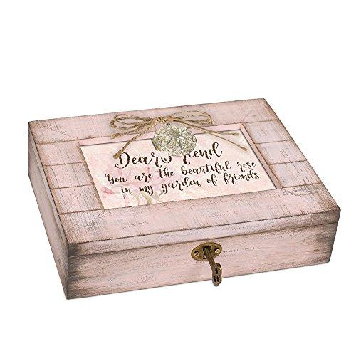 Cottage Garden Friend Beautiful Rose Blush Pink Distressed Locket Music Box Plays What a Wonderful ()
