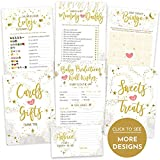 Baby Shower Games - Gender Neutral (5 Activities for 50 Guests, 5x7 Cards) - Baby Predictions, Baby Bingo, Emoji, Advice, Mommy or Daddy - Gender Reveal Party Supplies Favors Decorations