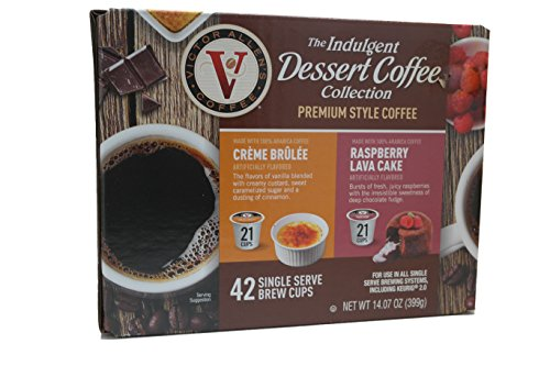 Victor Allens Dessert Coffee K Cups Creme Brulee & Raspberry Lava Cake (Variety Pack of - Allen Outlet Sales Mall