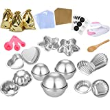 BEAVO 254 Pcs DIY Metal Bath Bomb Mold Set 6 Hemispheres, 2 Starfish, 2 Heart, 2 Shell, 2 Scallop, 2 Petal with Wrapping papers, Shrink Wrap Bags and Mini Sealer for Bath Bombs Handmade Soaps & Cake